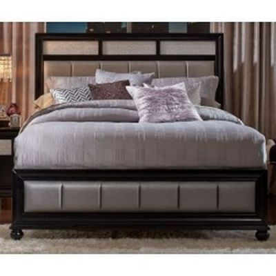 Barzini Queen Bed with Metallic Leatherette Upholstery