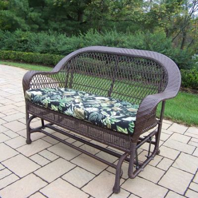 Coventry Wicker Glider With Black Floral Cushion - 2009-10-CF