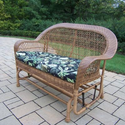 Coventry Wicker Glider With Black Floral Cushion - 2009-10-NT