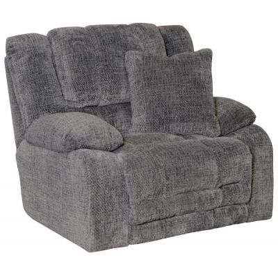 Branson Lay Flat Recliner With Extended Ottoman in Pewter - 620007270528