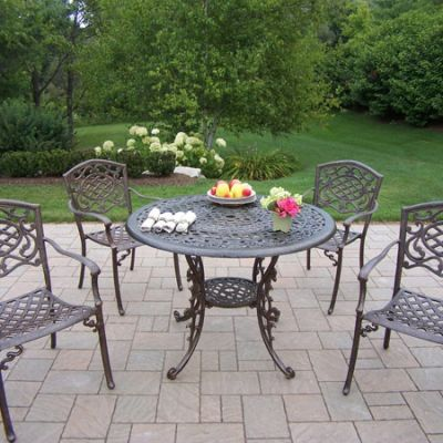 Mississippi Cast Aluminum 5 Piece Dining Set W/ Stack Chair - 2011-2120-5-AB