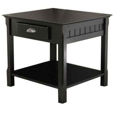 Timber End Table with one Drawer and Shelf - 20124