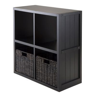 Timothy 3 Piece Panel Shelf with 2 Baskets in Black - 20225