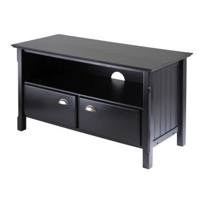 Timber 45' Solid Wood TV Stand With 2 Doors in Black - 20244