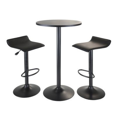 Obsidian 3 Piece Pub Set With 2 Airlift Stools in Black - 20313