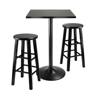 Obsidian 3 Piece Pub Table With 24 Inch Stools In Black