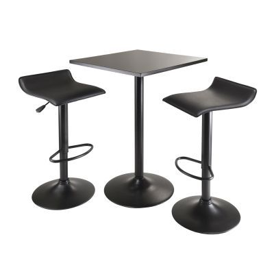 Obsidian 3 Piece Table Set With 2 Airlift Stools in Black - 20325