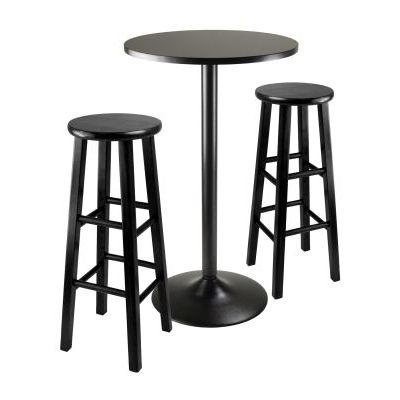 Obsidian 3 Piece Pub Table with 29' Stools in Black - 20331