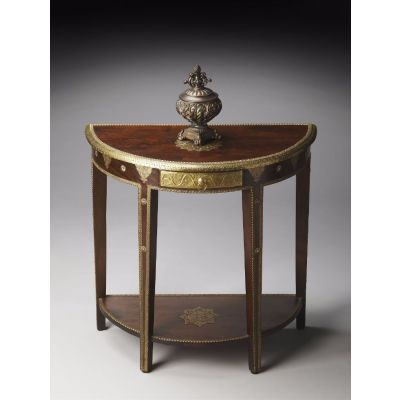 Krishna Carved Mango w/ Brass Detailed Demilune Table - 2054290
