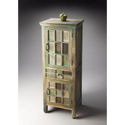 Whitewashed Water Color Acacia Wood Storage Cabinet - 2063290