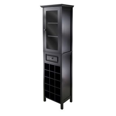 Burgundy Wine Cabinet With Glass Door in Black - 20667