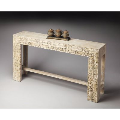Recycled Mango Console Table in Artifacts, Whitewash finish - 2069290