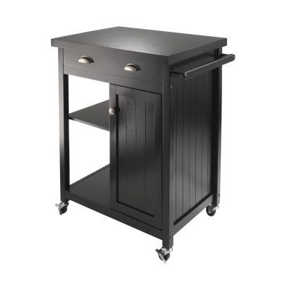Timber Kitchen Cart with Wainscot Panel in Black Finish - 20727