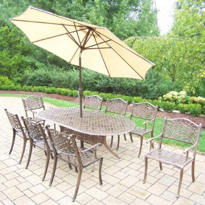 Mississippi Oval 11 Piece Dining, 8 Arm Chair & Umbrella - 2105T-2012C8-4005BG-4101-11-AB
