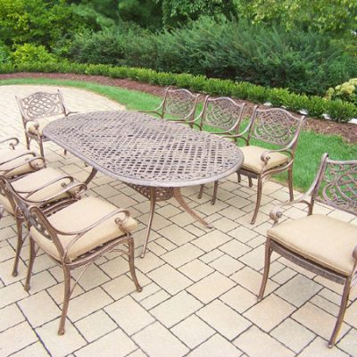Mississippi Oval 9 Piece Dining Set, 8 Durable Arm Chair - 2105T-2109C8-D56-17-AB