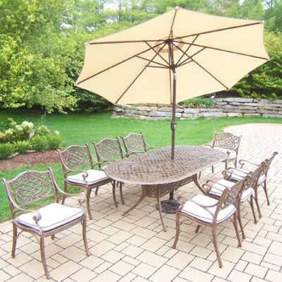 Mississippi Oval 11 Piece Dining Set, 8 Arm Chair & Umbrella - 2105T-2109C8-OM-4005BG-4101-19-AB