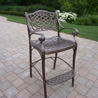 Mississippi Cast Aluminum Bar Stool With Foot Rest - 2110-AB