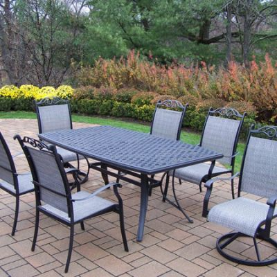 Cascade Aluminum 7 Piece Dining Set With Boat Shaped Table - 2136-10605-2S4C-7-BK