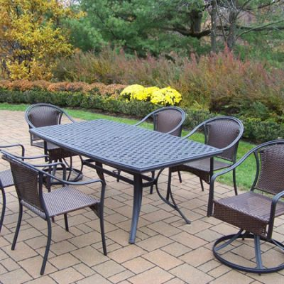 Tuscany 7 Piece Dining Set Boat Shaped Table & Wicker Chair - 2136-90079-2S4C-7-BK