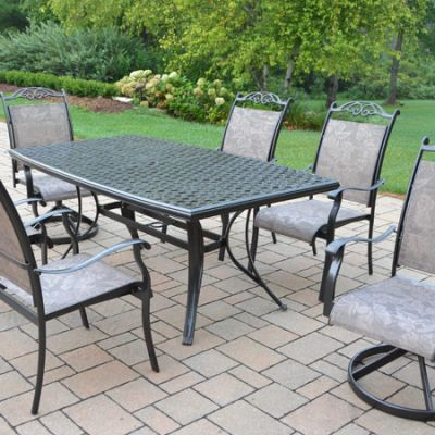 Cascade Aluminum 7 Piece Dining Set, Boat Shaped Table - 2136T-10605-2S4C-7-CF