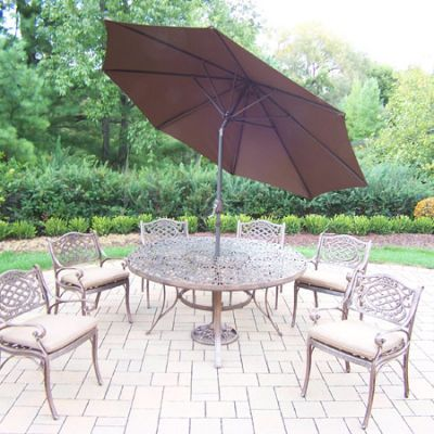 Mississippi Aluminum 9 Piece Dining Set With 6 Arm Chair - 2205T-2109C6-D56-4005BN-4101-15-AB