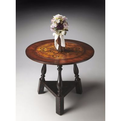 Olde Worlde Black and Tan Inlay Foyer Table - 2244283