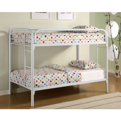 Toby Twin over Twin Metal Bunk Bed in White Finish - 2256W