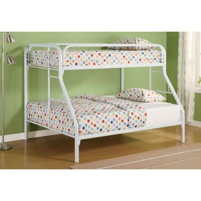 Tracey Twin over Full Metal Bunk Bed in White Finish - 2258W