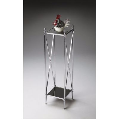 Modern Expressions Smoke Glass and Nickel Pedestal Table - 2864220