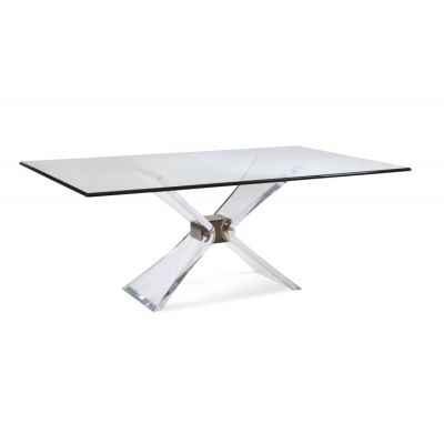 Silven Dining Table in Acrylic/Brushed Nickel - 001393_Kit