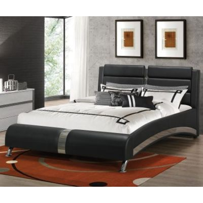 Jeremaine Queen Upholstered Modern Bed in Black - 300350Q