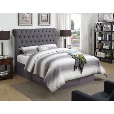 Devon Grey Upholstered California Queen Bed in Grey