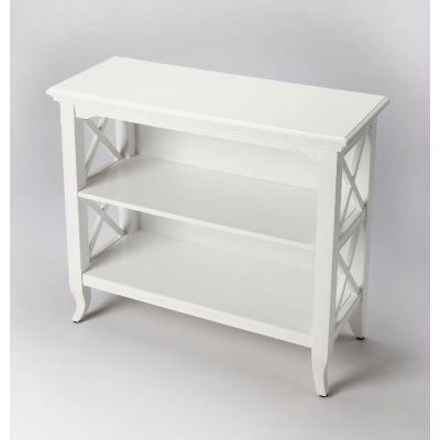 Newport Glossy White Low Bookcase - 3044304