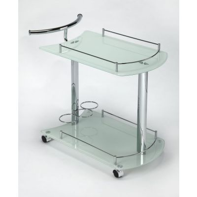 Penelope White Glass Serving Cart - 3238308