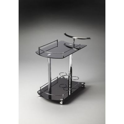Penelope Black Glass Serving Cart - 3238309