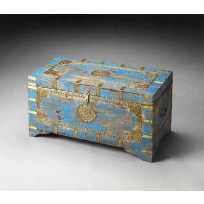 Neela Painted Brass Inlay Storage Trunk - 3387290