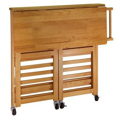Foldable Butcher Block Kitchen Cart in Light Oak - 34137