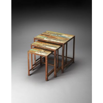 Decatur Recycled Wood & Iron Nesting Tables - 3495290