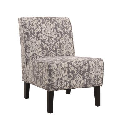 Coco Accent Fabric Slipper Chair in Gray Floral Pattern - 36096GDAM-01-KD-U