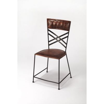 Hackney Brown Leather Side Chair - 3676344