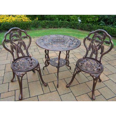 Palm Tree Cast Metal 3 Piece Bistro Set - 3716-AB