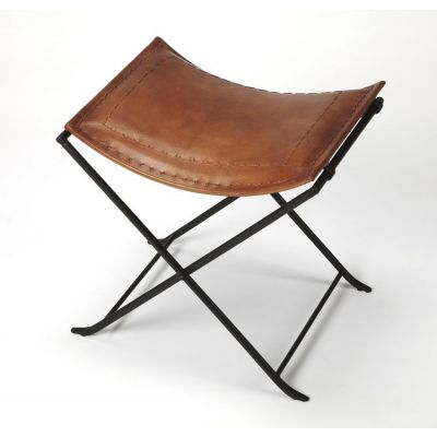 Melton Brown Leather Stool - 3722344