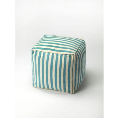 Sanibel Blue Stripe Pouffe - 3726140