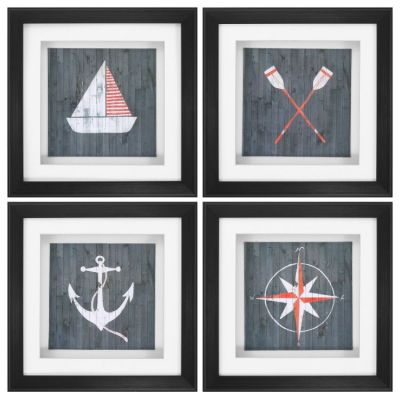 Nautical Plank Wall Art (Set Of 4) - 3794