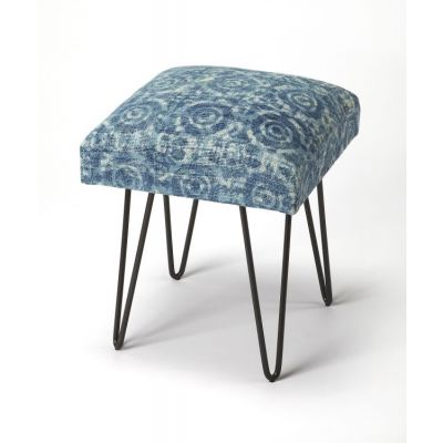 Faded Denim Cotton Upholstered Stool - 3799140