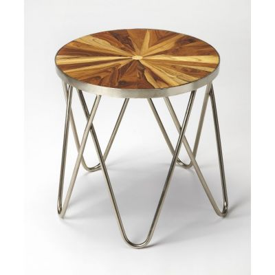 Hairpin Iron & Wood End Table - 3890140