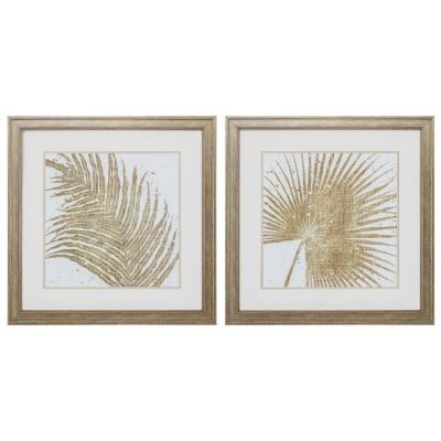 Gold Leaves Wall Art (Set Of 2) - 3978