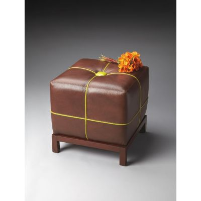 Yellow Ribbon Leather Ottoman - 4064260
