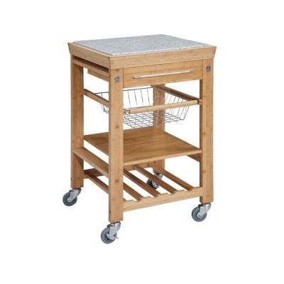 Bamboo Granite Top Kitchen Cart - 44031BMB-01-KD-U
