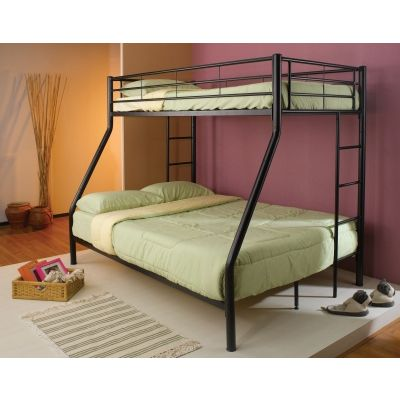 Denley Metal Full Bunk Bed in Black - 460062B